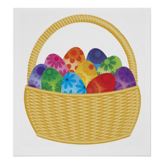 Colorful Easter Eggs in Basket Poster