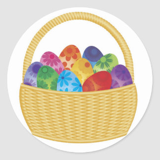 Colorful Easter Eggs in Basket Sticker