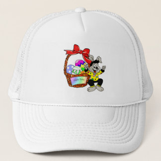 Colorful Easter eggs in basket with bunny Trucker Hat