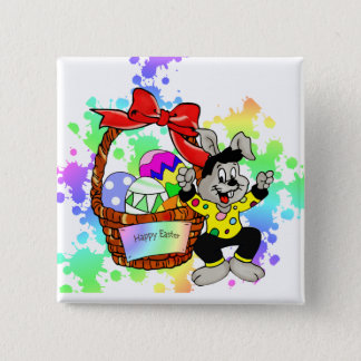 Colorful Easter eggs in basket with dancing easter Button