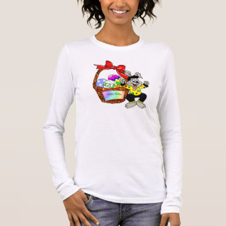 Colorful Easter eggs in basket with dancing easter Long Sleeve T-Shirt
