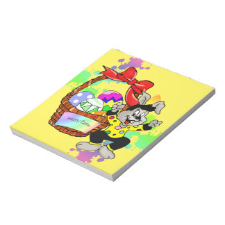 Colorful Easter eggs in basket with dancing easter Note Pad