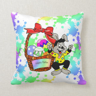 Colorful Easter eggs in basket with dancing easter Throw Pillow