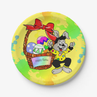 Colorful Easter eggs in basket with easter bunny 7 Inch Paper Plate