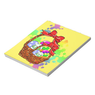 Colorful Easter eggs in baskets Note Pad