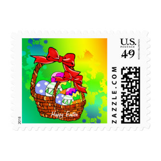Colorful Easter eggs in baskets Postage