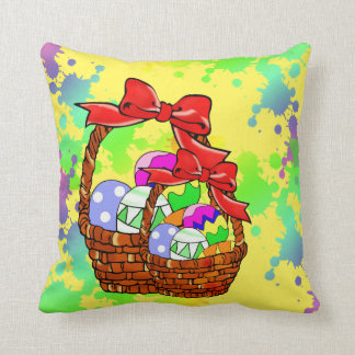 Colorful Easter eggs in baskets Throw Pillow