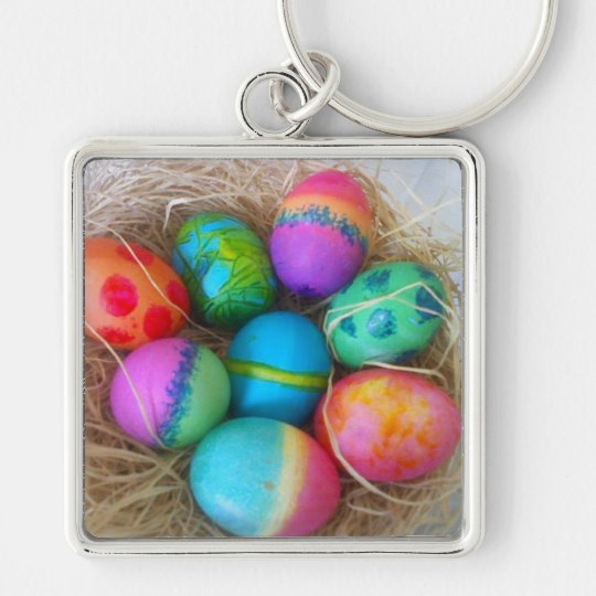 Colorful Easter Eggs Keychain