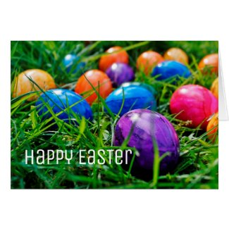 Colorful Easter Eggs on Grass Photo, Happy Easter Card