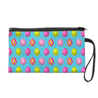 Colorful Easter Eggs On Polka Dot Background Wristlet Clutches