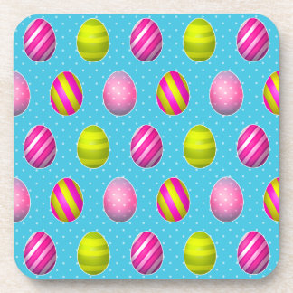 Colorful Easter Eggs On Polka Dot Background Beverage Coaster