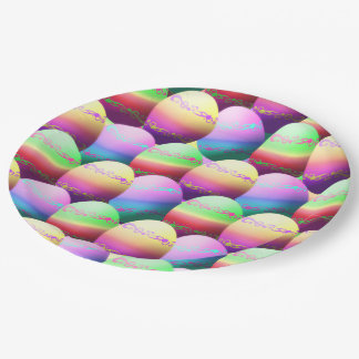 Colorful Easter Eggs Paper Plates 9 Inch Paper Plate