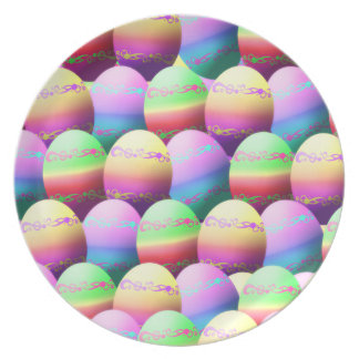 Colorful Easter Eggs Party Plate