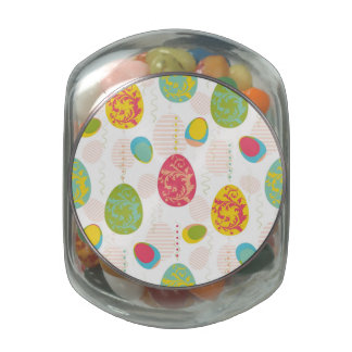 Colorful Easter Eggs Pattern Glass Jars