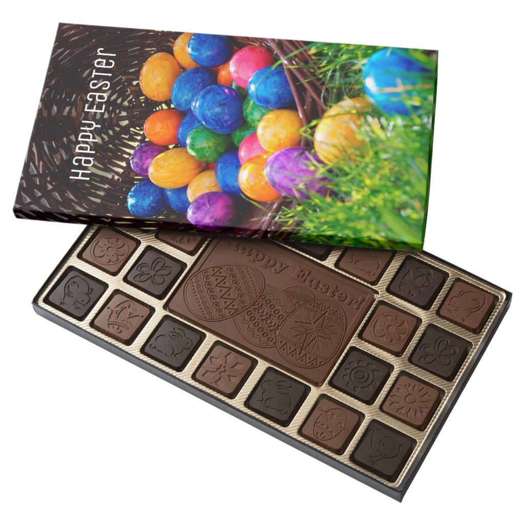 Colorful Easter Eggs Photo, Happy Easter 45 Piece Box Of Chocolates