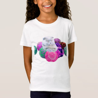 COLORFUL EASTER EGGS SMART CAT T SHIRT FOR KIDS