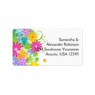 Colorful Easter Flower Bunch Label