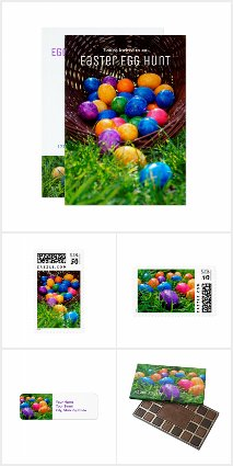 Colorful Easter Invitations, Postage, Chocolates