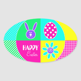 Colorful Easter Oval Sticker