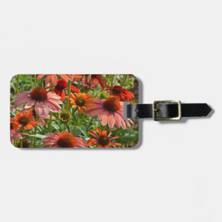Colorful echinacea floral print tag for bags