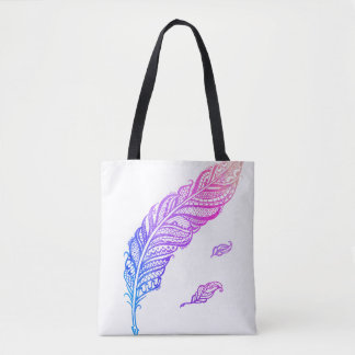 Colorful Edgy & Chic Intricate Lace Feather illust Tote Bag