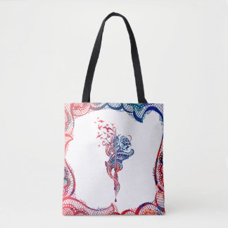 Colorful Edgy Lace Pen, Rose & Birds illustration Tote Bag
