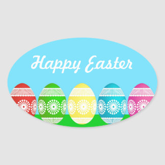 Colorful Egg Border Oval Sticker