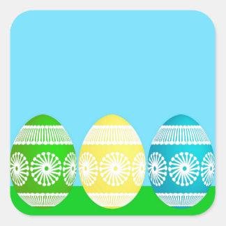 Colorful Egg Border Square Sticker