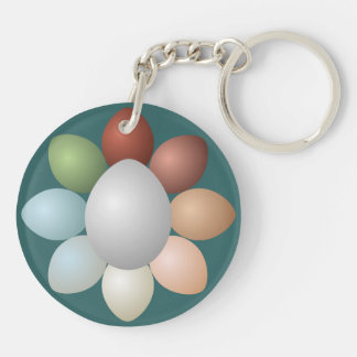 Colorful Eggs Assortment Double-Sided Round Acrylic Keychain