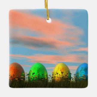 Colorful eggs for easter - 3D render Ceramic Ornament