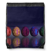 Colorful eggs for easter - 3D render Drawstring Backpack