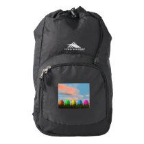 Colorful eggs for easter - 3D render High Sierra Backpack