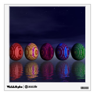 Colorful eggs for easter - 3D render Wall Sticker