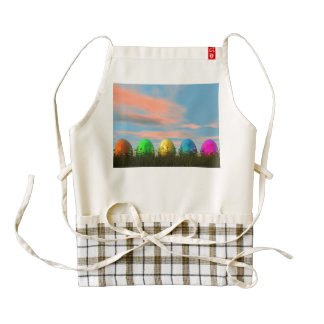 Colorful eggs for easter - 3D render Zazzle HEART Apron