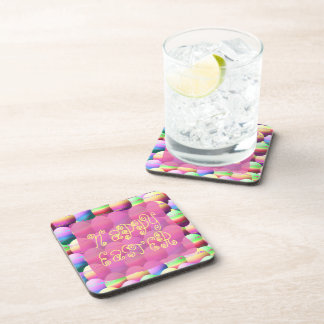 Colorful Eggs Happy Easter Drink Coaster