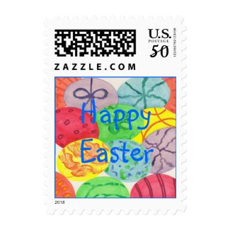 Colorful eggs, Happy Easter postage stamps