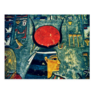 Colorful Egyptian goddess Hathor in royal tomb Postcard