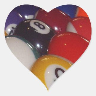 Colorful_Eight_Balls, _ Pegatina En Forma De Corazón