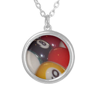 Colorful_Eight_Balls,_ Silver Plated Necklace
