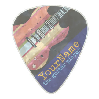 colorful electric-guitar with your name, cool pearl celluloid guitar pick