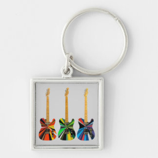 Colorful Electric Guitars Silver-Colored Square Keychain