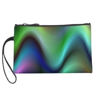 Colorful electric waves wristlet clutch