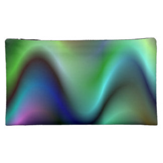 Colorful electric waves makeup bags