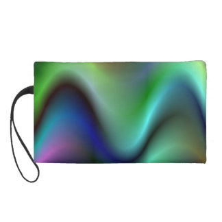 Colorful electric waves wristlet purse