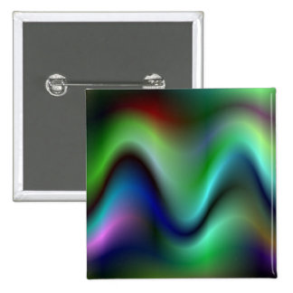Colorful electric waves 2 inch square button