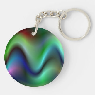 Colorful electric waves Double-Sided round acrylic keychain