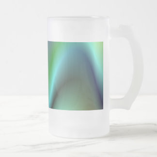 Colorful electric waves frosted glass beer mug