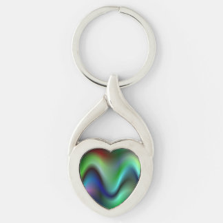 Colorful electric waves Silver-Colored Heart-Shaped metal keychain