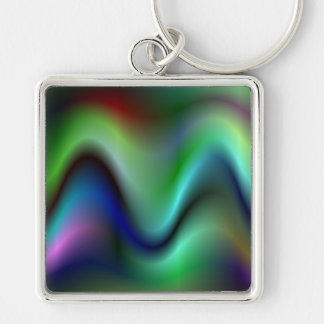 Colorful electric waves Silver-Colored square keychain