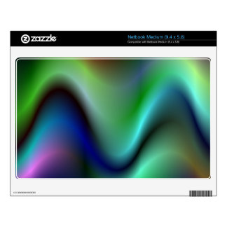 Colorful electric waves decal for medium netbook
